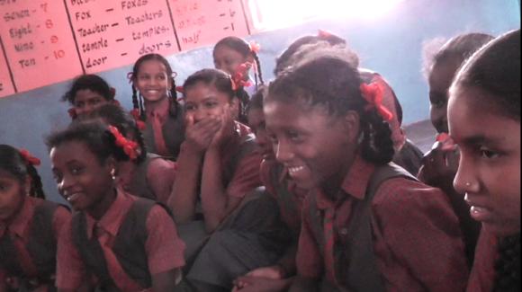 Girls at a remote school, in a tribal area near Dandeli