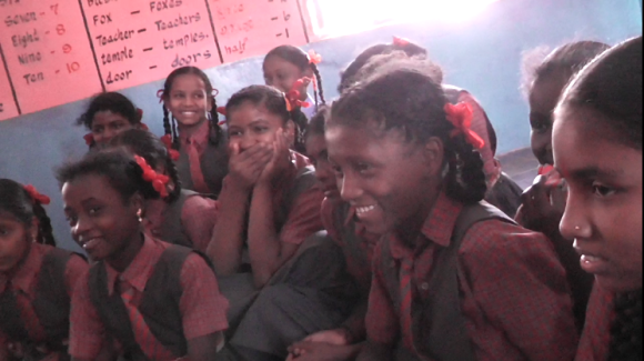 Girls at a remote school, in a tribal area near Dandeli