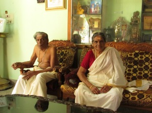 The Supreme Priest of Sabarimala and his wife, Smt. Devika Devi, at their residence in Chengannur